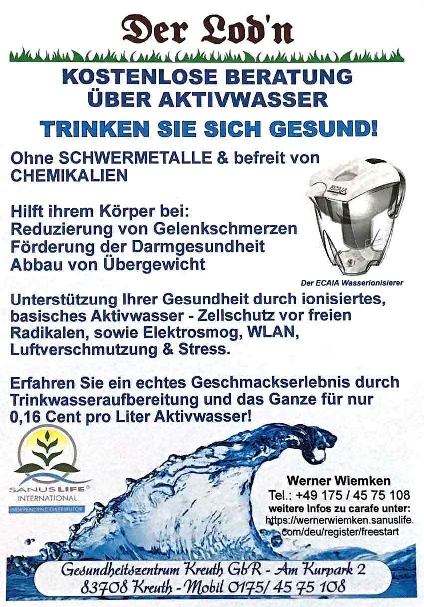 Kostenlose Beratung über Aktivwasser