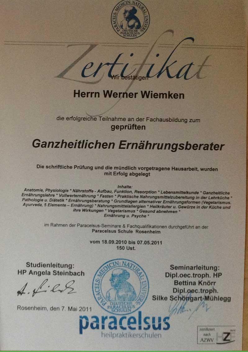 Zertifikat Ganzheitliche Ernährungsberatung