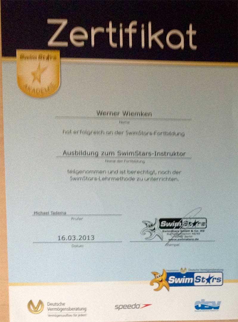 Zertifikat SwimStar Instruktor