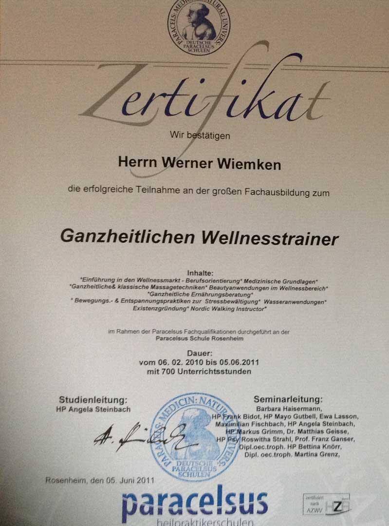 Zertifikat Ganzheitlicher Wellnesstrainer